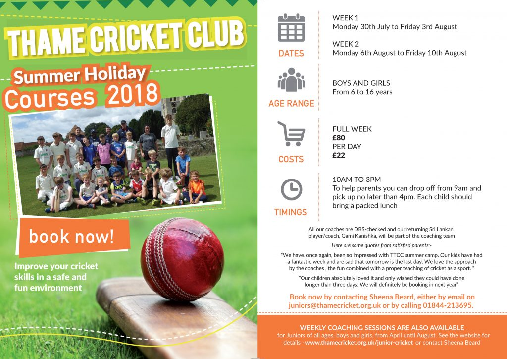 Summer Holiday Cricket Courses at Thame-2017
